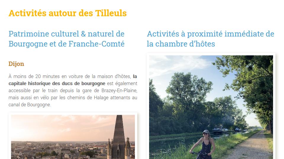 Gite - Activités en cote d'or - Les tilleuls en Bourgogne